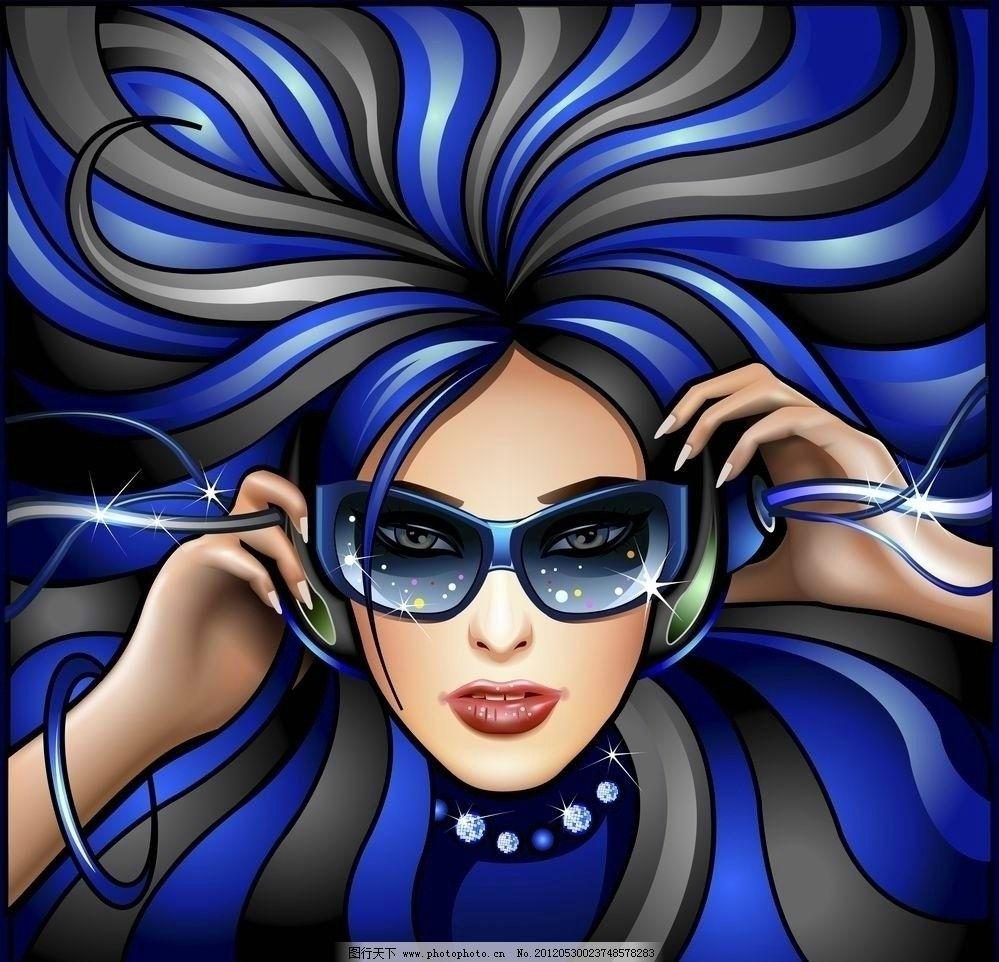 听音乐美女头发花纹 音乐背景图片图片