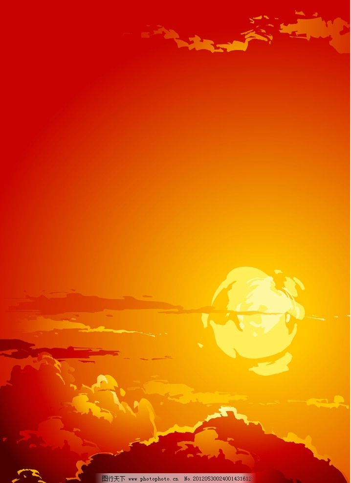 太阳落山矢量图 黄昏 夕阳 火烧云 云彩 太阳 自然背景 矢量 自然风景