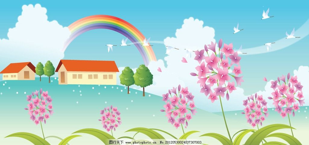 自然景观 卡通画 儿童画 夏日景色插画 矢量图库 漫画设计 蓝天白云图片