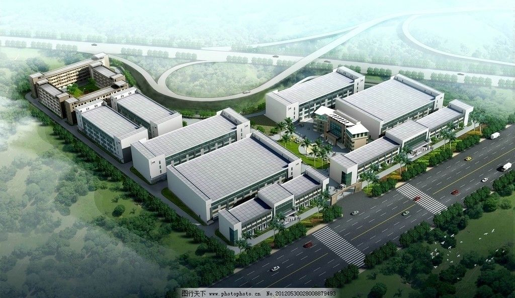厂区建筑3d鸟瞰图图片