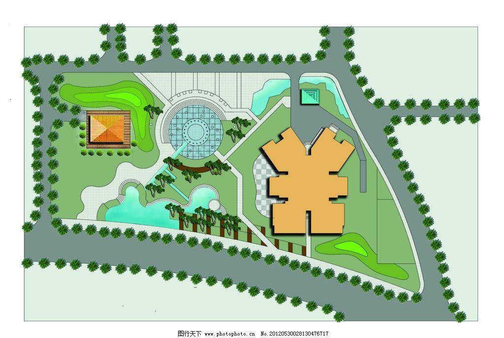 景观设计 彩屏图 园林景观设计 室外彩平图 小区平面效果图 源文件