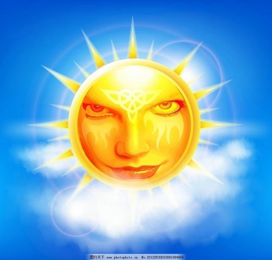 蓝天白云太阳表情 蓝天 白云 太阳 表情 流泪 手绘 梦幻 背景 底纹