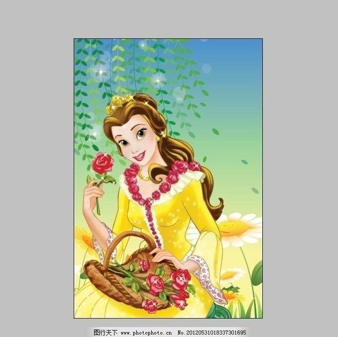 卡通 女孩 美女 公主 迪斯尼 人物 动漫动画 可爱女孩 树叶 玫瑰 篮子