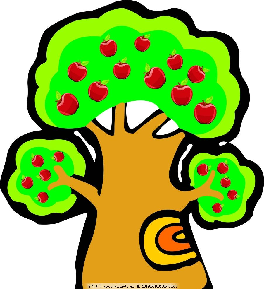 大树 苹果 树冠 幼儿园素材