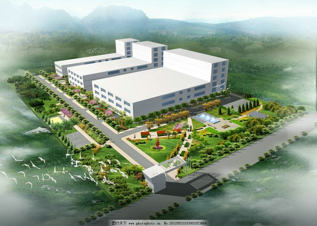 园林鸟瞰图 工厂绿化 园林绿化 园林设计 厂房 树木 雕塑 效果图