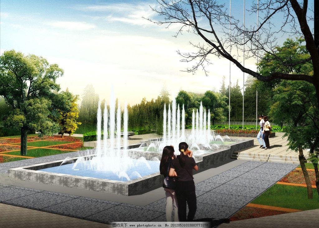 树木 雕塑        园林素材 水池 喷泉 大门设计 天空 道路 行道树 景