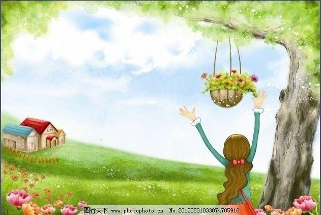 韩国手绘风格插图 插画 拥抱 花朵 树林 森林 少女 田园 房子图片
