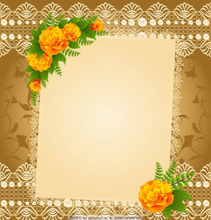 欧式花纹花朵 玫瑰花卡图片