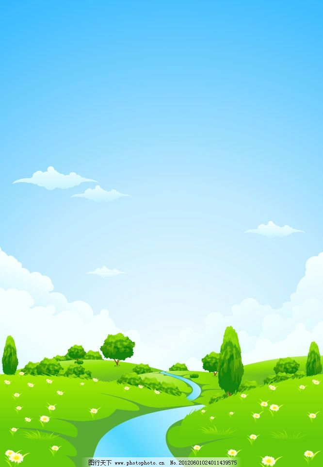 蓝天白云草地河流 春天背景图片