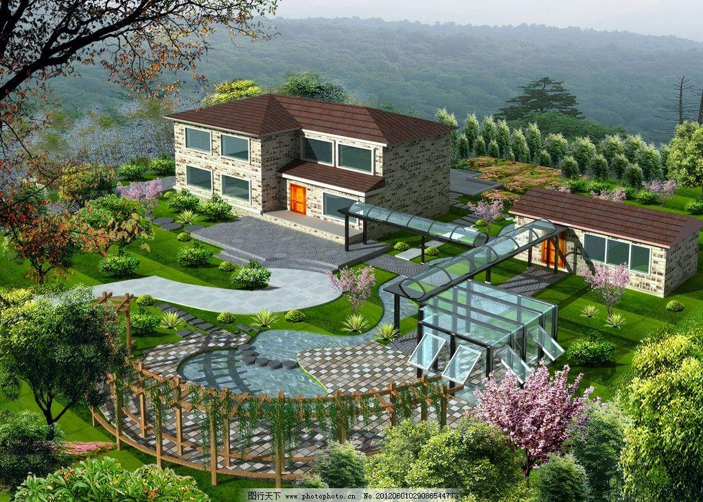 别墅效果图 景观效果图 别墅 草坪 草丛 树木 别墅宣传 建筑 其他设计
