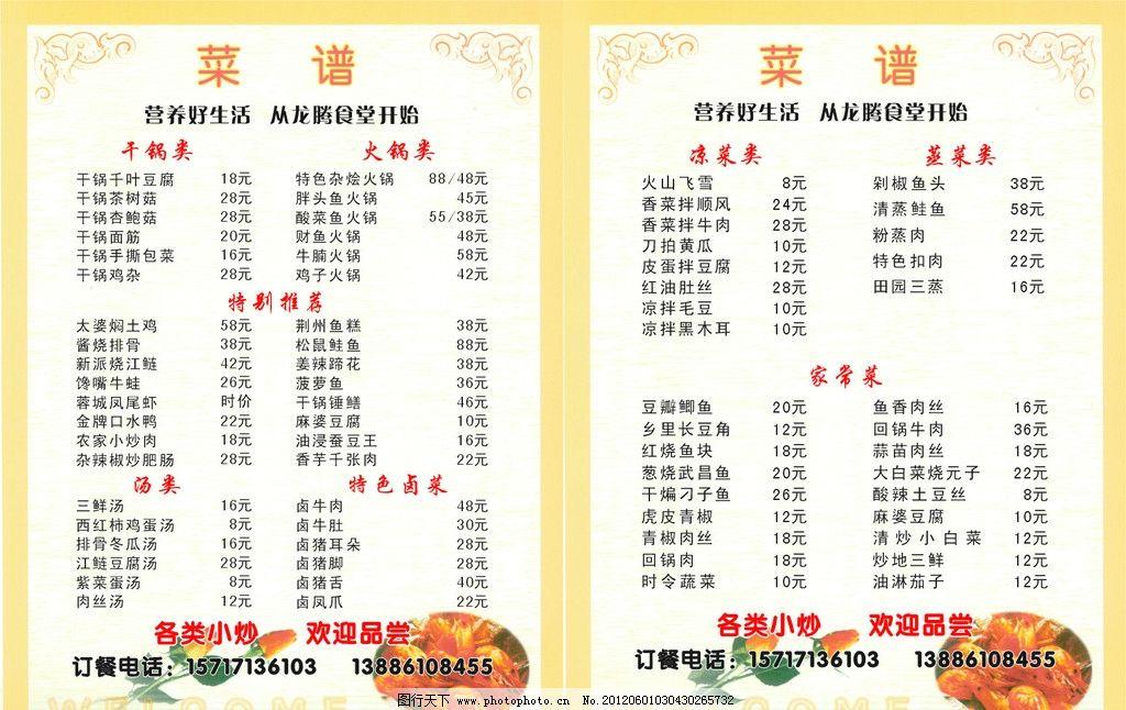 龙腾食堂菜谱 龙腾食堂 菜谱 各种小炒菜 家常菜 菜单菜谱 广告设计
