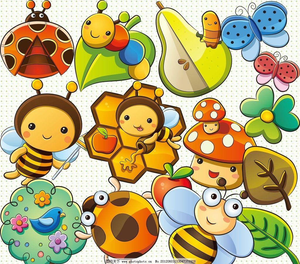 可爱 卡通 动物 甲壳虫 毛毛虫 蝴蝶结 蜜蜂 蘑菇 树叶 花朵 树 苹果