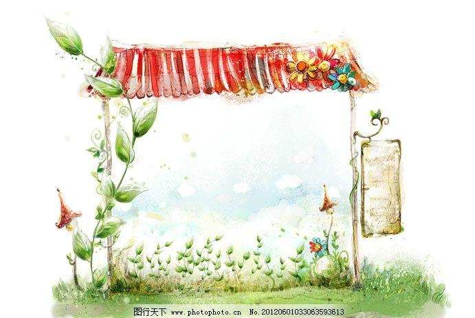 手绘风格 绿色植物 叶子 花朵 红色屋檐 招牌 psd分层素材 源文件 300
