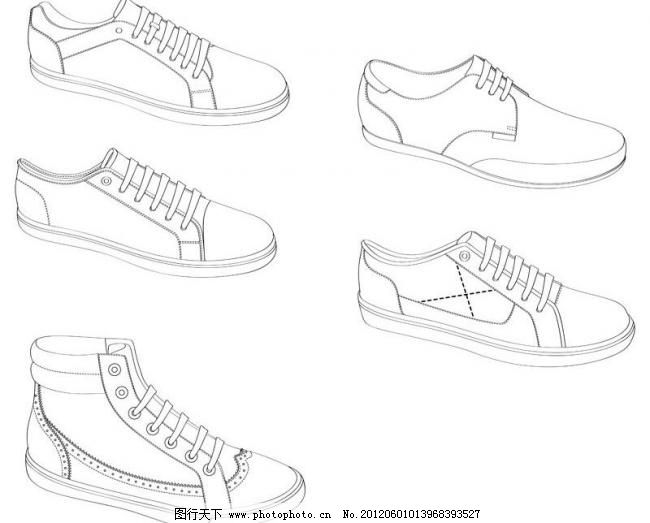 简笔画 手绘 线稿 鞋 运动鞋 650_523