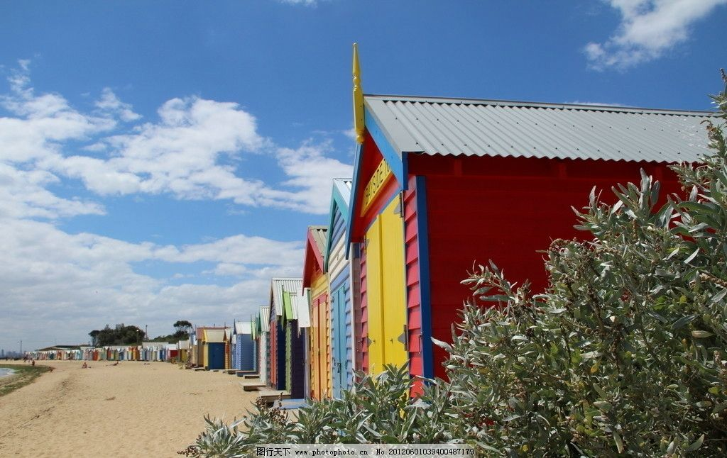 彩色房子 房子 彩房 海边