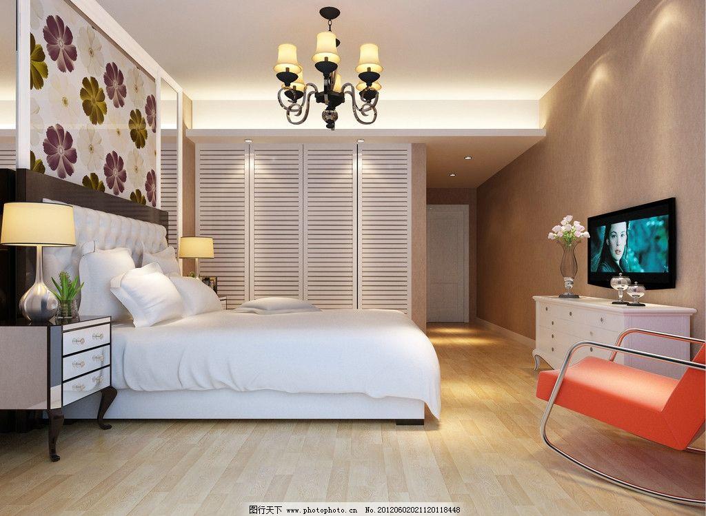卧室效果图 室内设计 家装 床 电视柜 休闲椅 室内模型 源文件