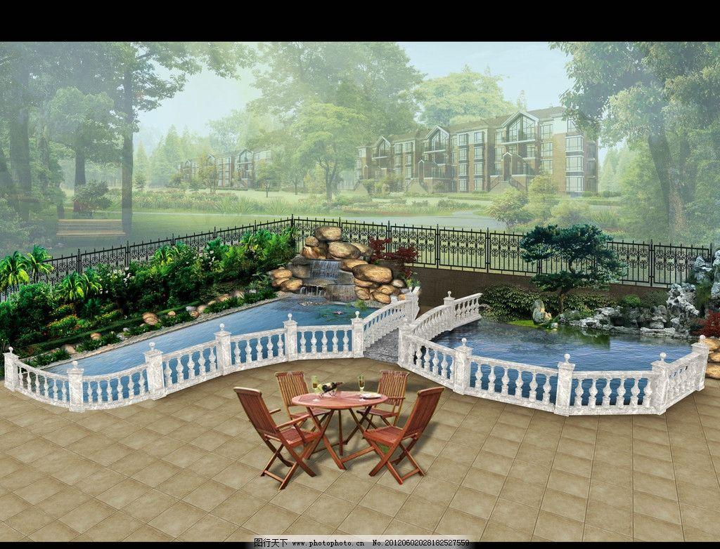 別墅花園園林設計 護欄