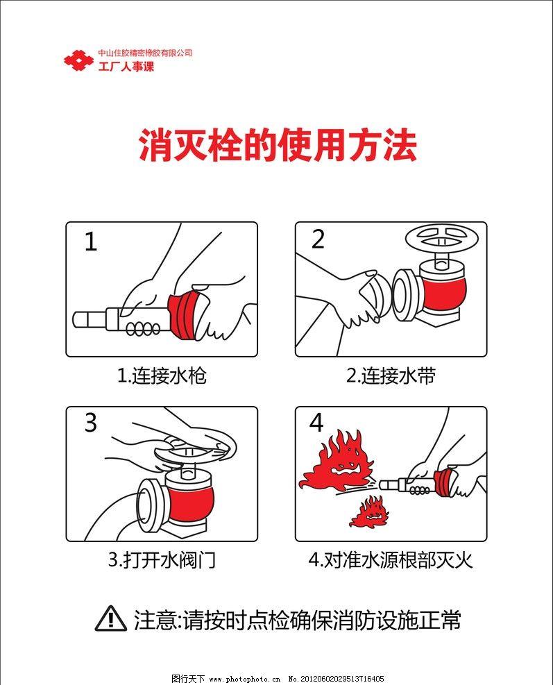 消防栓的使用方法 消火栓 安全 失量 原文件 水枪 接口 水阀