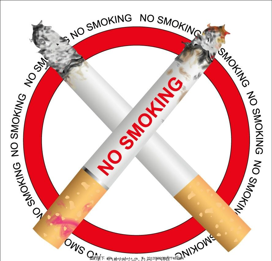 禁止吸烟标志 香烟 燃烧 禁烟 禁止 手绘 矢量 广告设计 eps