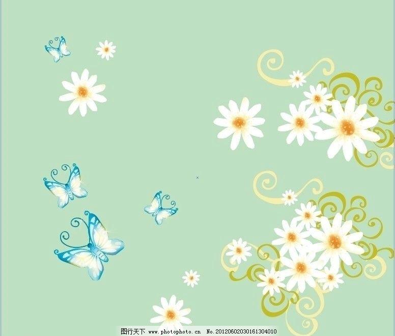 移门绿底花 绿色 背景 花朵 花纹 菊花 蝴蝶 广告设计 矢量移门