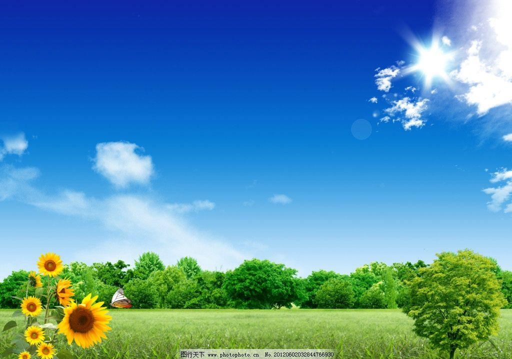 蓝天白云草地 向日葵 蓝天白云 草地 树木 风景 psd分层素材 源文件