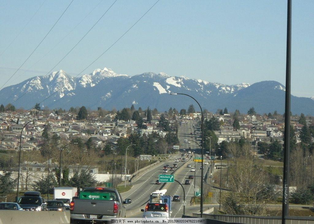 加拿大温哥华高速公路雪山风景图片