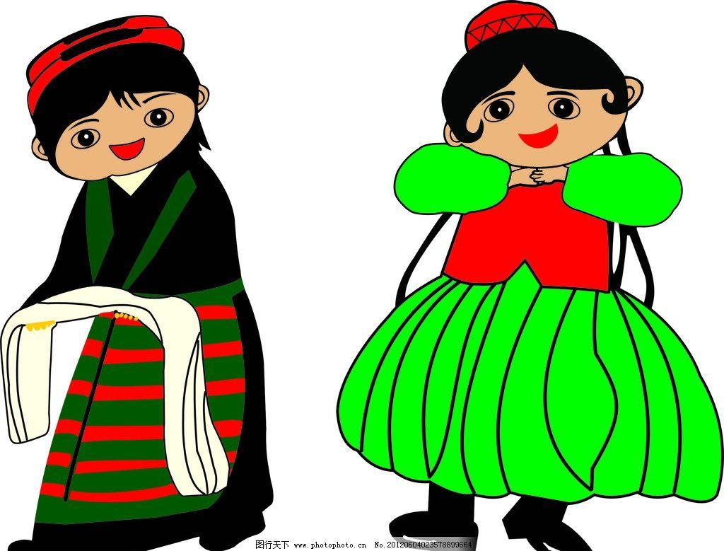 藏族孩子图片手绘