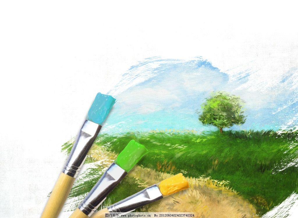 画笔下的蓝天白云草地 蓝天 白云 草地 绿草 绿树 画笔 水墨 墨迹