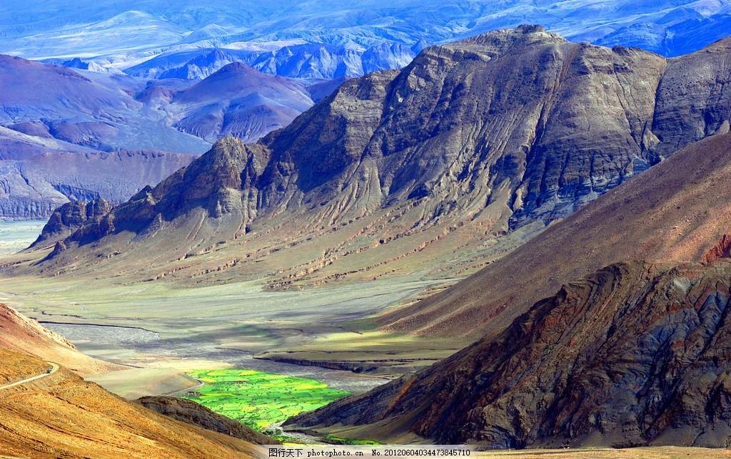 西藏高山风景 大山 山脉 盆地 雄伟壮观 高清风景 绿地 公路