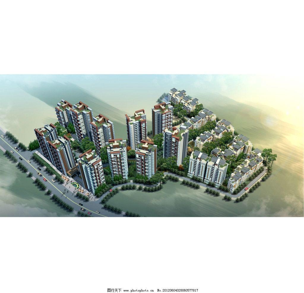 小区3d鸟瞰建筑效果图图片