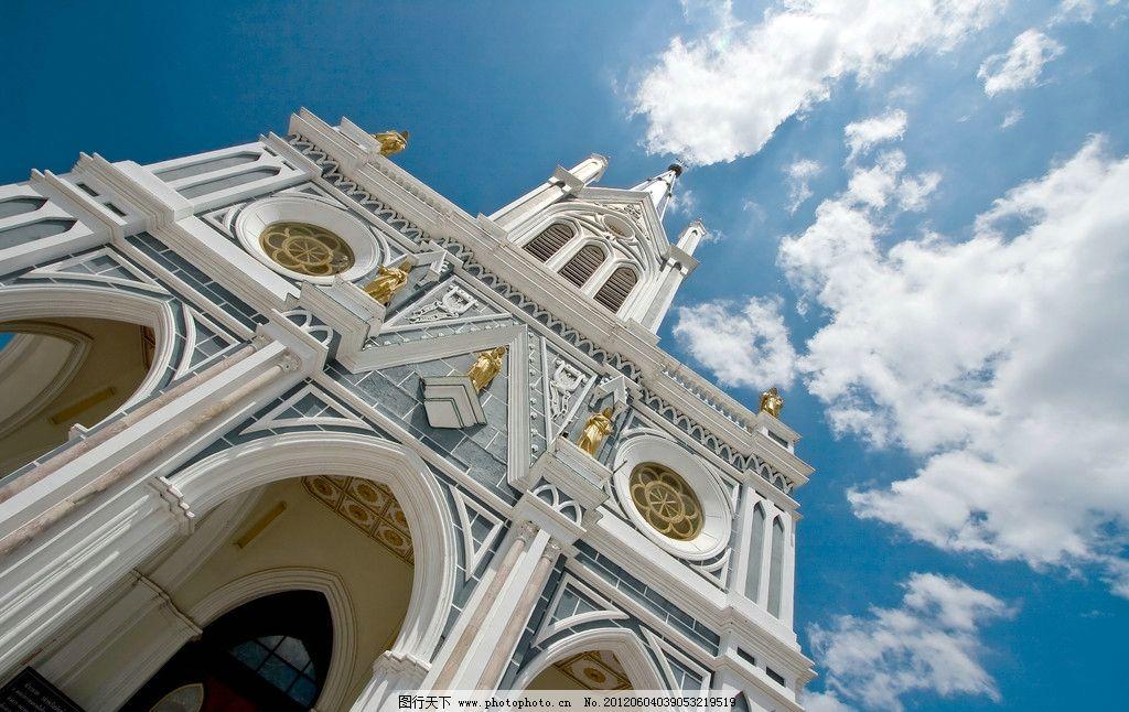 天空教堂 天空 仰望 教堂 穹顶 房地产 欧式 建筑 宗教信仰 文化艺术
