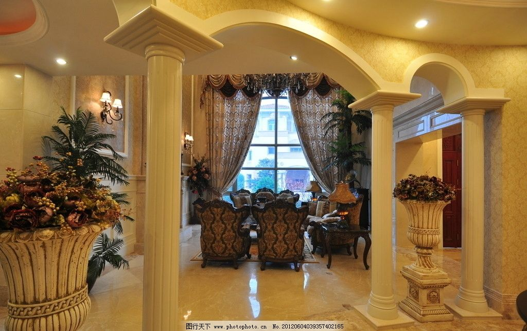 室内设计 装修风格 建筑装饰 家装 家庭装修 柱子 拱门 植物