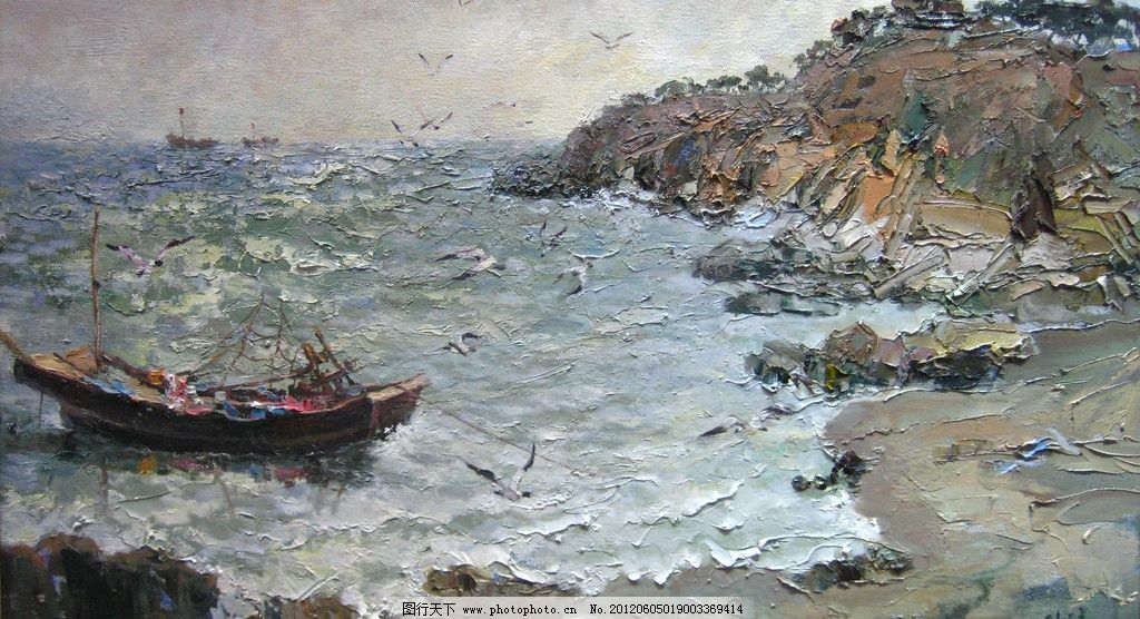 港湾 油画 手绘 水粉 水彩 写实风格 传统绘画 风景 写生 天空 云彩