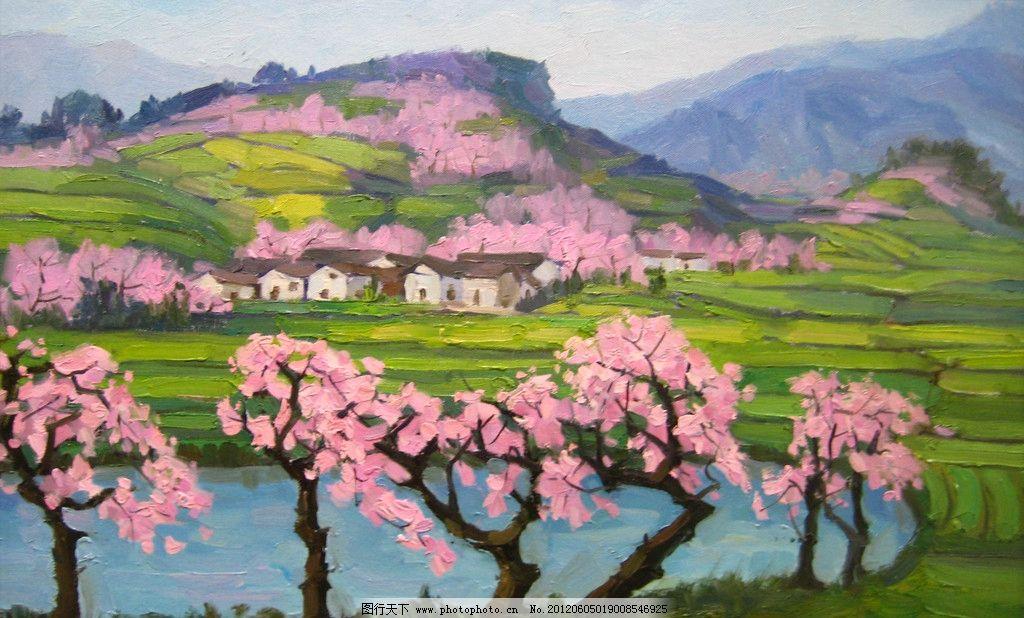 桃花 油画 手绘 刀画 装饰画 抽象绘画 传统绘画 风景 远山 天空 树