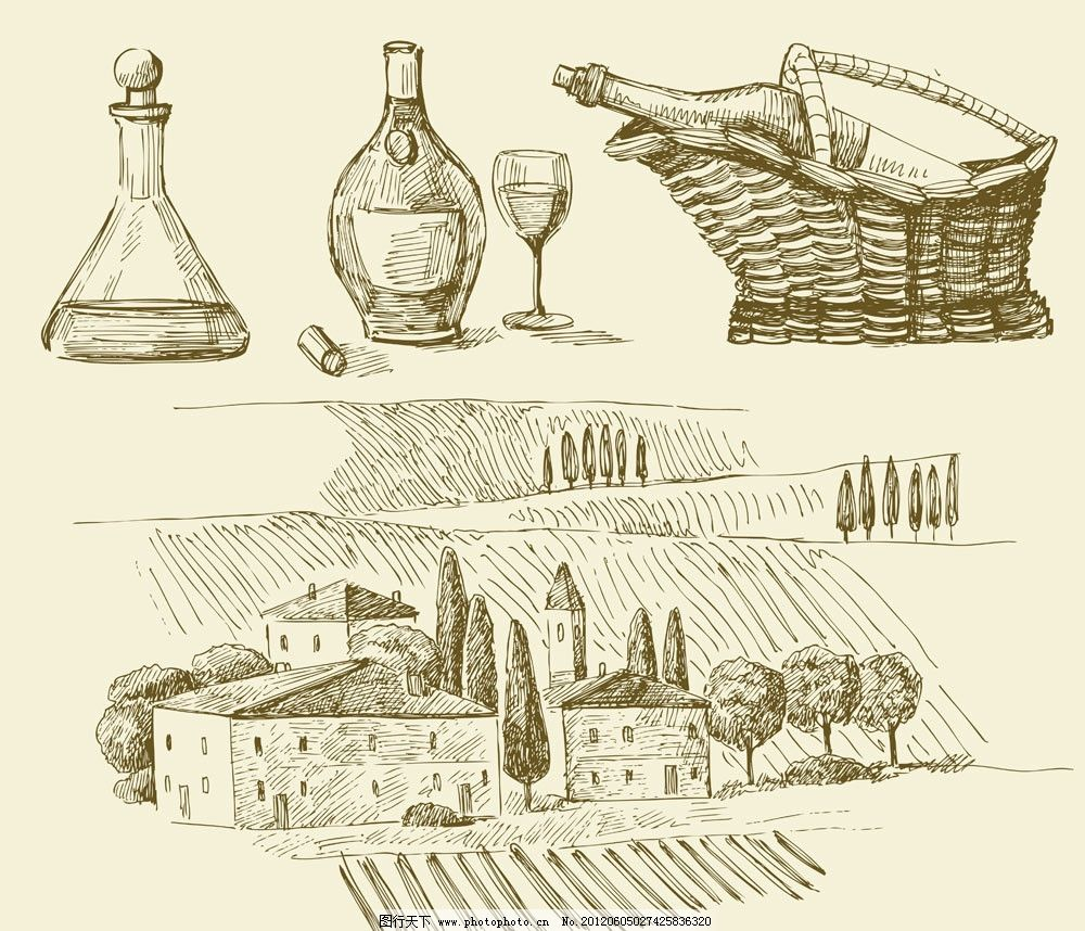 手绘葡萄酒素材 红酒 葡萄酒