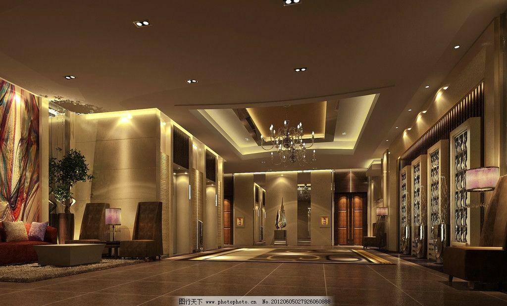 简欧风格酒店电梯厅效果图图片