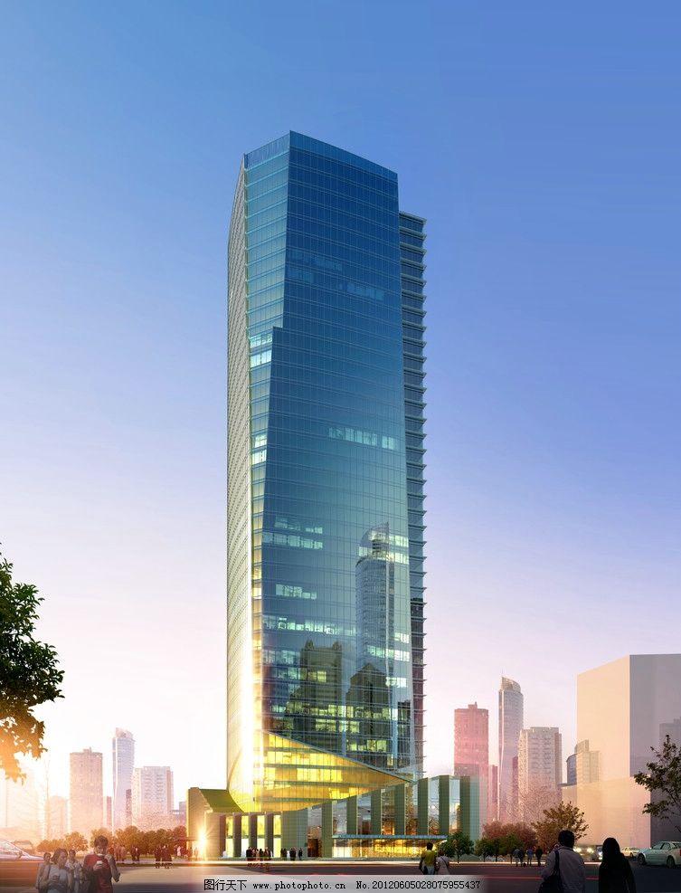高层办公楼效果图 高层 办公楼 写字楼 玻璃幕墙 晶体 行人 街道 蓝天
