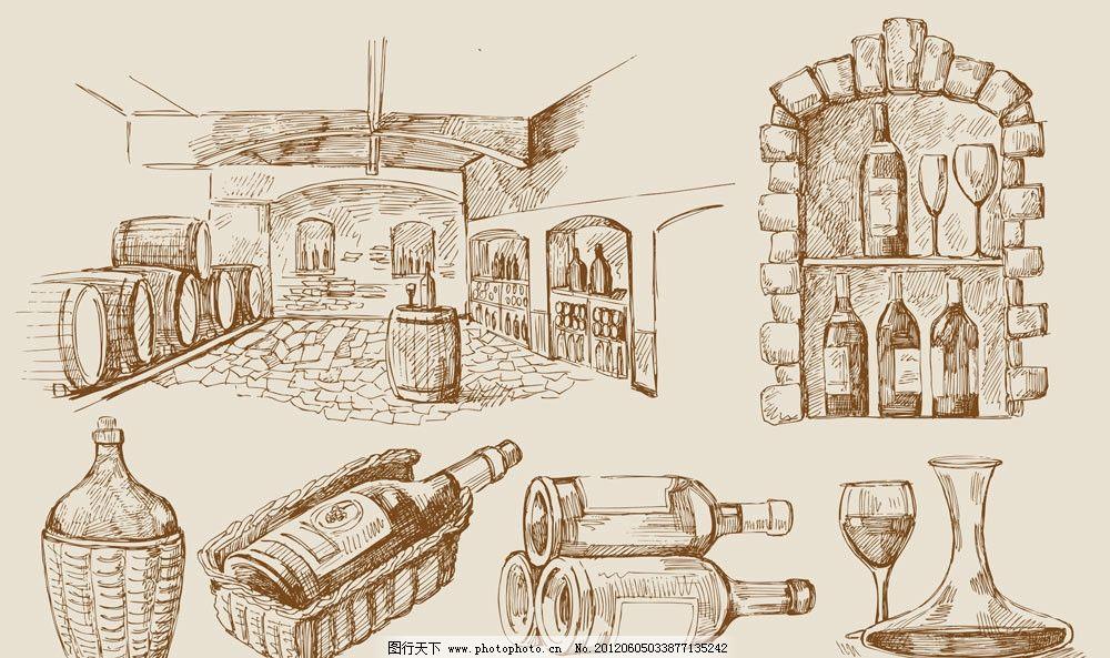 手绘葡萄酒素材 红酒 葡萄酒 葡萄 葡萄园 橡木桶 酒庄 酒窖 玻璃杯