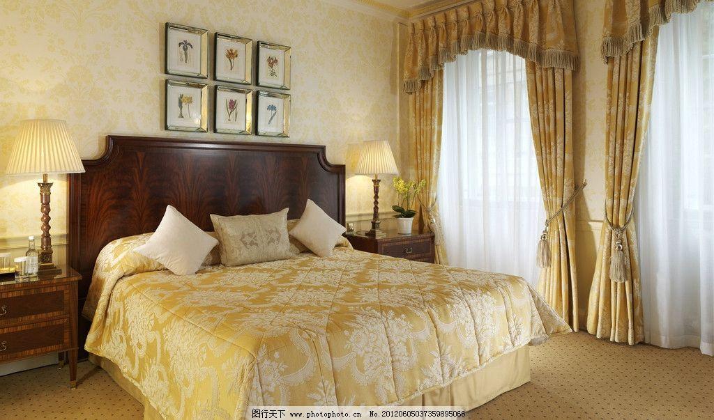 卧室摆设家居图片      双人床 欧式床 大窗帘 台灯 墙画 墙纸 高档