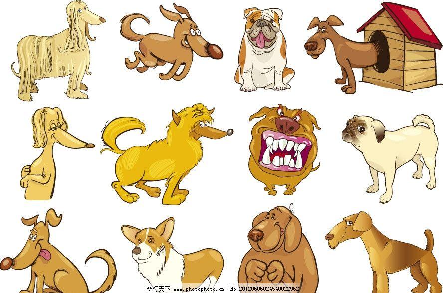 卡通宠物表情 卡通 宠物 小狗 表情 幽默 滑稽 有趣 手绘 矢量 家禽家图片