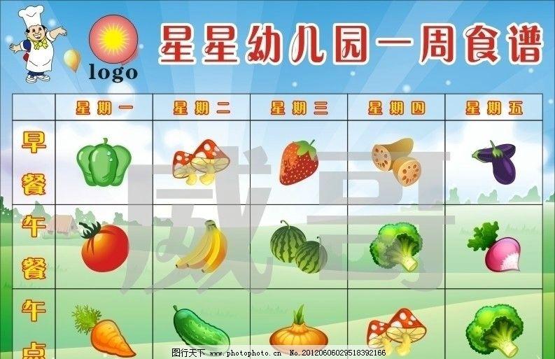 萝卜 南瓜 蘑菇 香蕉 凉瓜 西瓜 矮瓜 学校食谱 幼儿园食谱 广告设计