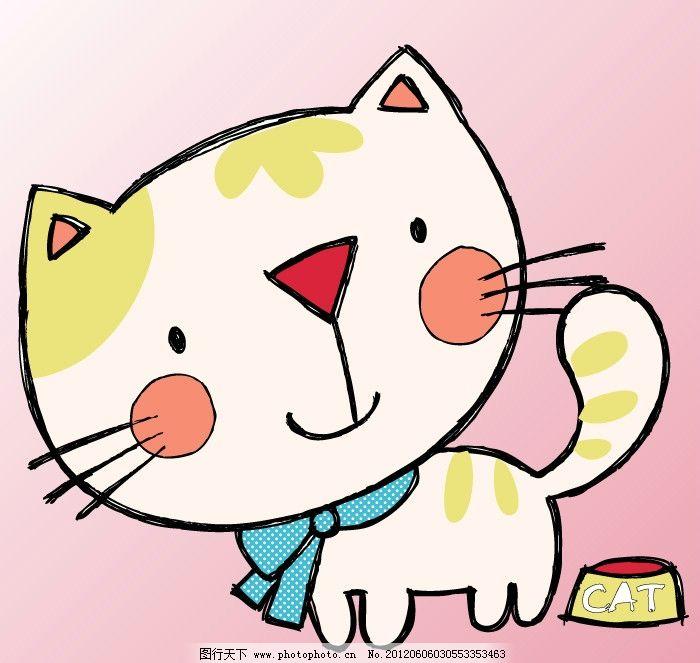 卡通可爱小猫 卡通 可爱 小猫 白色 围巾 卡通设计 广告设计 矢量 cdr