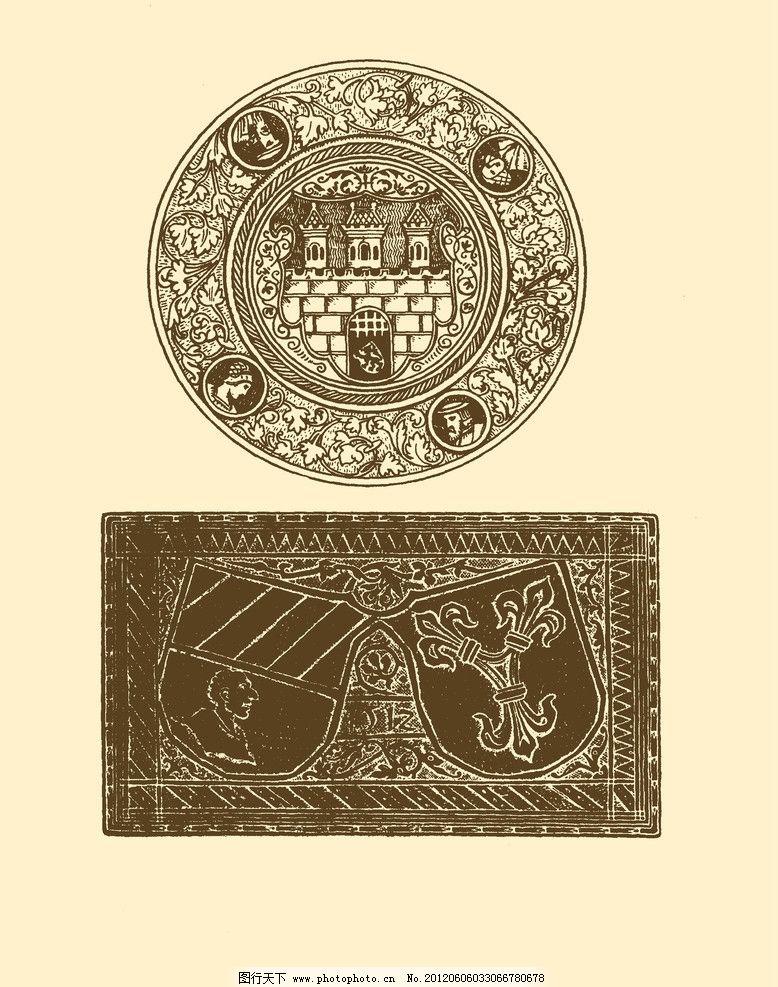 欧洲装饰图案 欧洲纹样图案 图形 白描 勾勒 雕像 石雕 石像图片