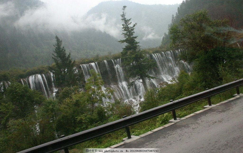 瀑布白云山水树木图片_山水风景_自然景观_图行天下