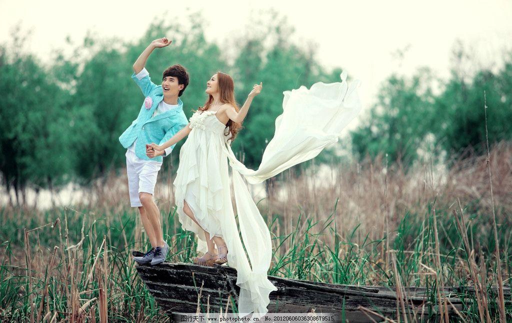 外景婚纱照 白色 人物摄影 人物图库