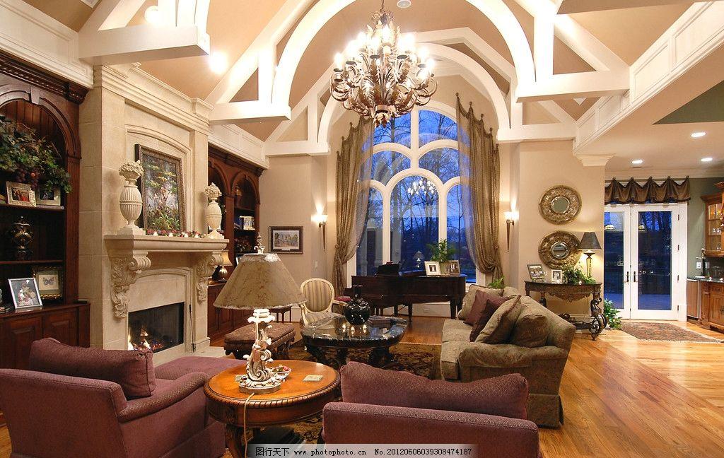 古典欧式客厅 沙发 书架 电视柜 吊顶 欧式灯具 沙发背景墙 油画图片