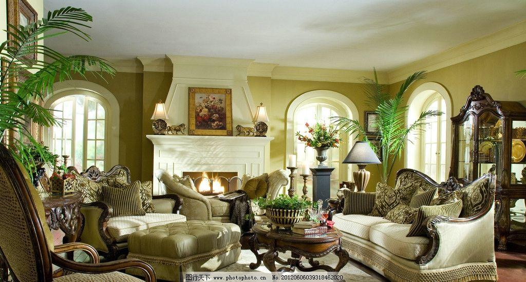 欧式 古典 沙发 书架 电视柜 吊顶 欧式灯具 沙发背景墙 油画