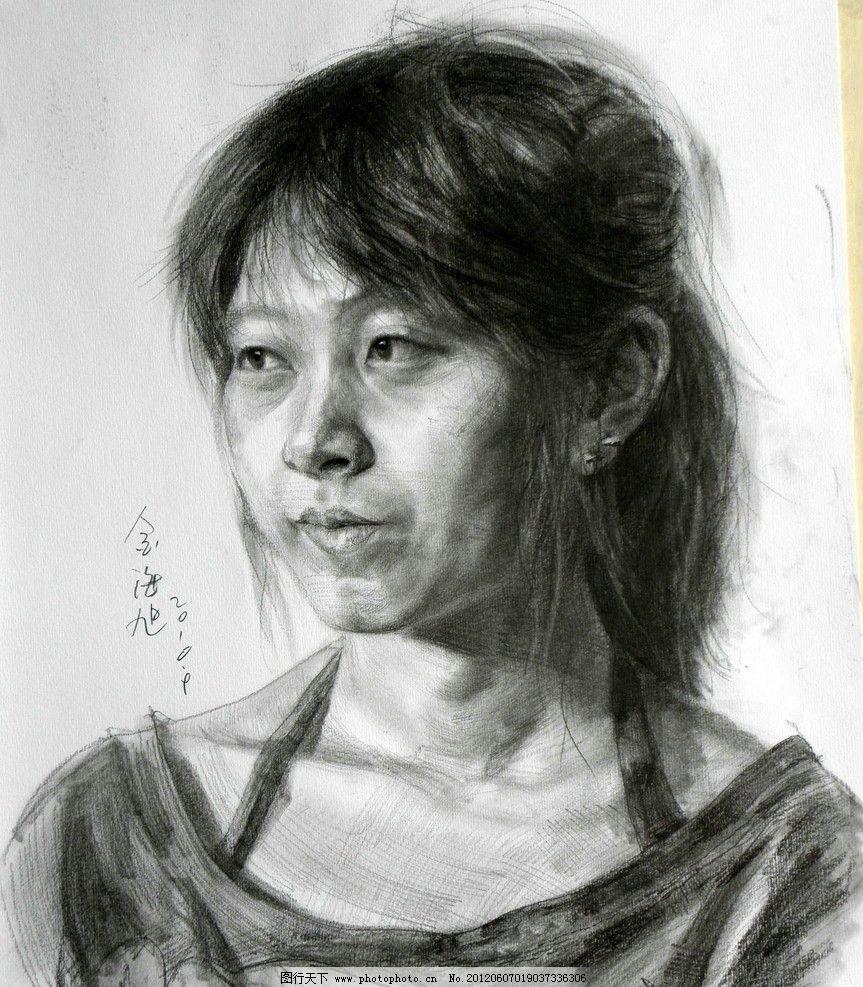 女孩素描头像作品图片