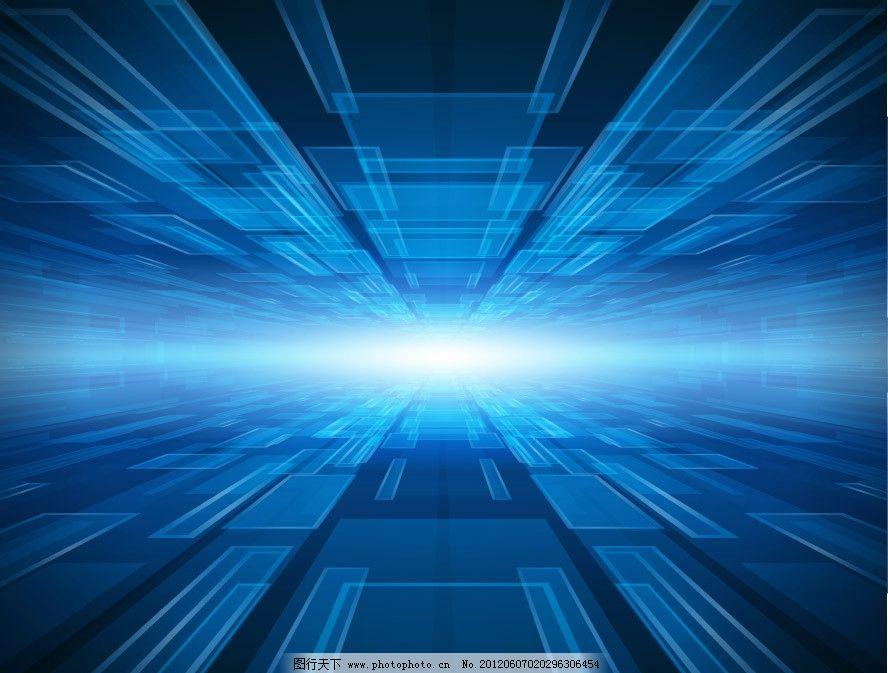 3d蓝色动感线条方形 商务科技背景图片