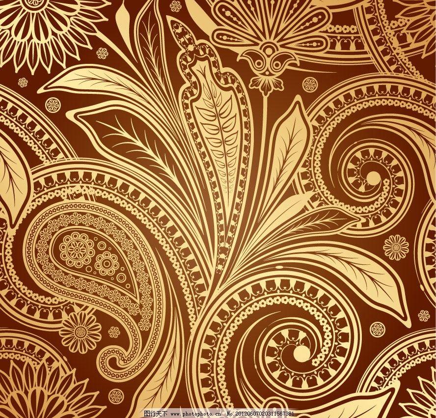 壁纸 手绘 咖啡色 背景 底纹 矢量 手绘花纹古典花纹底纹 花纹花边
